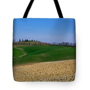 Field With Cypress Trees Tote Bag