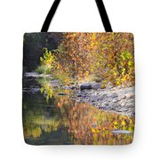 Fiery Reflection At Lost Maples Tote Bag