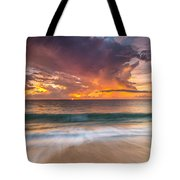 Fiery Skies Azure Waters Rendezvous Tote Bag by Photography  By Sai