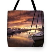 Fiery Sunset At Stuart Marina Tote Bag