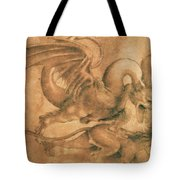 Fight Between A Dragon And A Lion Tote Bag