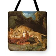 Fight Between A Lion And A Tiger, 1797 Tote Bag by James Ward