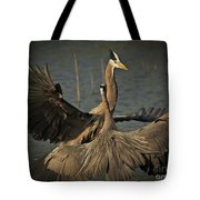Fighting Great Blue Herons Tote Bag