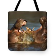Fighting Hippo's Tote Bag