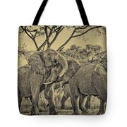 fighting male African elephants Tote Bag