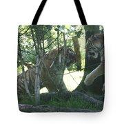 Fighting Siberian Tigers Tote Bag