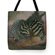 Fighting Zebras Tote Bag