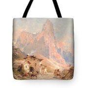 Figures In A Village In The Dolomites Tote Bag