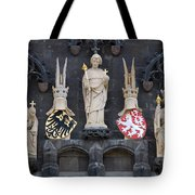 Figures On Staromestska Vez In Prague Tote Bag