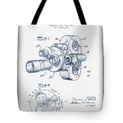 Film Camera Patent Drawing From 1938 - Blue Ink Tote Bag