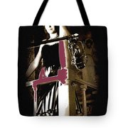 Film Noir  Dance Hall Girl Looks Down On Robert Mitchum The King Of Noir Filming  Old Tucson Az 1968 Tote Bag