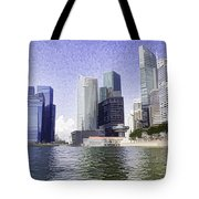 Financial District Of Singapore And View Of The Water Tote Bag