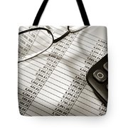 Financial Spreadsheet With Calculator And Glasses Tote Bag