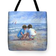 Finding Sea Shells Brother And Sister Tote Bag