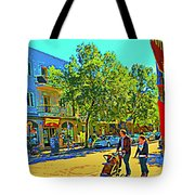 Fine Day For Baby Strollers And Bikes Art Of Montreal Street Scene Across Maitre Gourmet Cafe Tote Bag