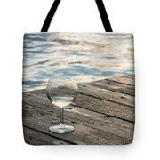 Finger Lakes Wine Tasting - Wine Glass On The Dock Tote Bag