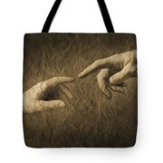 Fingers Almost Touching Tote Bag