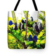 Fir Tree Buds Abstract Tote Bag