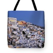 Fira Town During Dusk Time Tote Bag