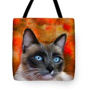 Fire And Ice - Siamese Cat Painting Tote Bag