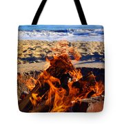 Fire At The Beach Tote Bag