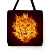 Fire Burning Flaming Skull Tote Bag