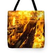 Fire - Burning Wood Tote Bag