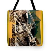 Fire Escapes In Blue And Gold Tote Bag