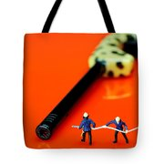Fire Fighters And Fire Gun Little People Big Worlds Tote Bag
