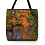 Fire In The Creek A1 - Owens Creek Near Loys Station Covered Bridge - Autumn Frederick County Md Tote Bag