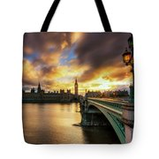 Fire In The Sky Tote Bag by Yhun Suarez