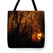 Fire In The Woods Sunset Tote Bag
