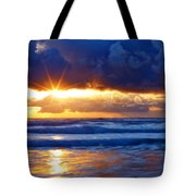Fire On The Horizon Tote Bag