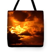 Fire Over The Ocean Tote Bag