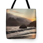 Fire Over The Sea Stacks Tote Bag by Adam Jewell