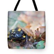 Fire Salamander Dry Leaves Tote Bag