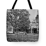 Fire Station Main Street In Black And White Walt Disney World Tote Bag