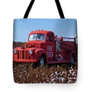 Fire Truck In The Cotton Field Tote Bag