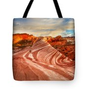 Fire Wave At Sunset Tote Bag