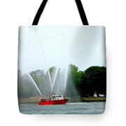 Fireboat Water Show On Long Island Sound Tote Bag