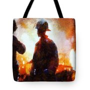 Firefighters At The Scene Tote Bag
