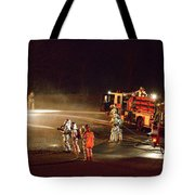 Firefighters At Work Tote Bag