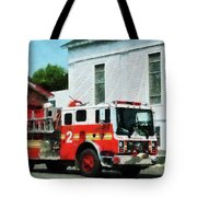 Fireman - Fire Engine In Front Of Fire Station Tote Bag