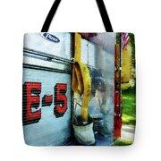 Fireman - Hose In Bucket On Fire Truck Tote Bag