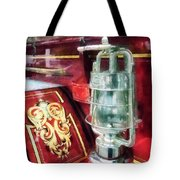 Fireman - Lantern On Old Fire Truck Tote Bag