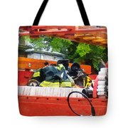 Firemen - Uniform In Back Of Vintage Fire Truck Tote Bag by Susan Savad