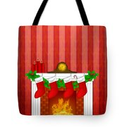 Fireplace Christmas Decoration Wth Stockings And Wallpaper Tote Bag