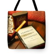Fireside Chats With Fdr 05 With A Pipe And Book Tote Bag