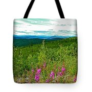 Fireweed And Mountains From Top Of The World Highway-yukon Tote Bag