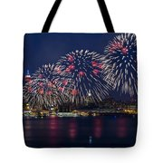 Fireworks And Full Moon Over New York City Tote Bag
